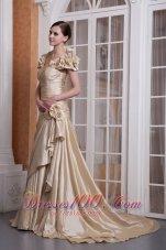 Champagne A-line Sweetheart Wedding Dress Silk Satin
