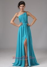 Strapless Chiffon Slit Aqua Blue Brush Prom Dress