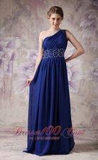 Blue Evening Dress Empire Chiffon Beading Brush