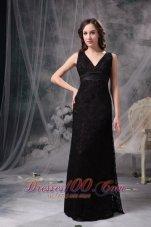 Sexy Column V-neck Little Black Dress Lace Belt Ruch
