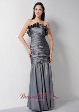 Custom Grey Column Strapless Floral Bridesmaid Dress Taffeta