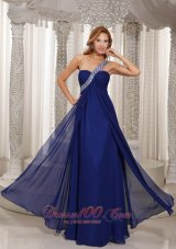 Formal Navy Blue Empire Beading Celebrity Evening Dress