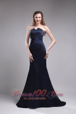 Column Strapless Satin Beading Navy Blue Evening Dress