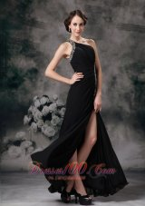 Custom Black Empire One Shoulder Evening Dress Chiffon