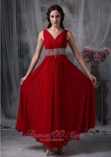 Custom Red Empire V-neck Chiffon Prom Evening Dress