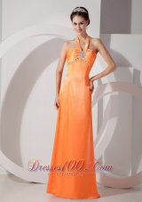 Orange Red Column Halter Evening Dress Satin Beading Ruch