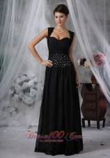 Beaded Wasit Black Chiffon Floor-length Cocktail Maxi Dress