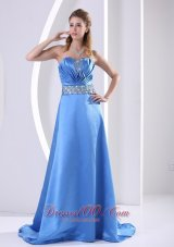 Sky Blue Prom Evening Dress Beading Ruch Sweep Train