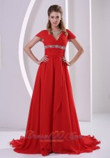 Red Beaded Chiffon Mother Of The Bride Dress V-neck