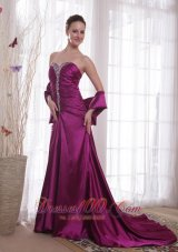 Purple A-Line Sweetheart Taffeta Beading Prom Dress