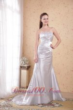 Grey Column Strapless Satin Appliques Ruch Prom Dress
