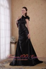 Formal Black A-line Court Train Prom Celebrity Dress