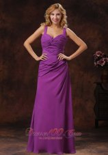 Purple Ruched Discount Floor-length Bridesmaid dress