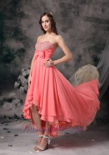 Discount Watermelon Chiffon High-low Homecoming Dress