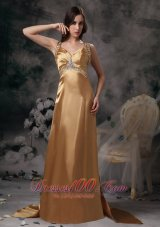 Formal Gold Beading Brush Train Prom Evening Dress