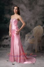2013 Rose Pink Evening Shimmering Brush Train Dress