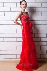 Function Red Column Layered Beading Prom Evening Dress