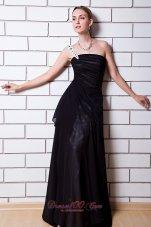 One Shoulder Black Empire Beading Evening Dress