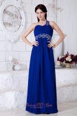 Royal Blue One Shoulder Appliques Prom Evening Dress