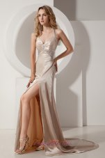Elastic Champagne Column Halter Court Train Evening Dress