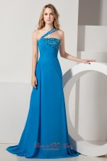Fashionable Blue One Shoulder Brush Train Beading Prom