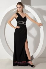 One Shoulder Black Side Slit Beading Prom Evening Dress