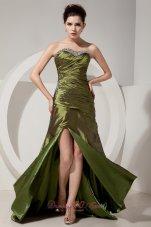 Olive Green Column Beading Brush Train Prom Dress