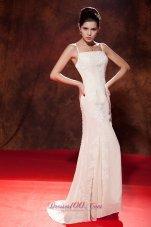 2013 White Mermaid Spaghetti Embroidery Celebrity Evening Dress