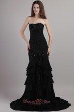 Black Trumpet Court Train Chiffon Beading Prom Evening Dress