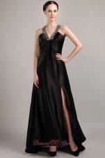 Discount Black Empire V-neck Elastic Maxi Dress