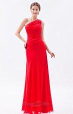 2013 Red Column One Shoulder Beading Prom Dress