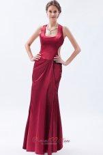 Square Neck Satin Wine Red Prom Dress