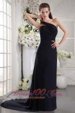 Chiffon Black One Shoulder Brush Train Prom / Graduation Dress