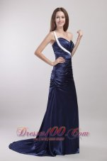 Sheath Ruch One Shoulder Brush Train Prom Dress