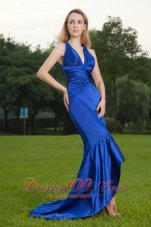 Mermaid Royal Blue V-neck Brush Train Prom / Celebrity Dress