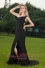 Black Slit One Shoulder Court Train Prom / Celebrity Dress