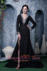 High Slit Mother Of The Bride Dress V-neck Beading