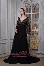 Sleeves V-neck Beading Court Train Mother Of The Bride Dress
