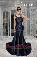 Scoop Beading Brush Train Taffeta Prom / Evening Dress