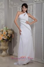 White One Shoulder Beading Brush Train Prom Dress Evening