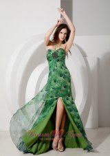 Peacock Like High Slit Printing Prom Dress 2013 Beaded