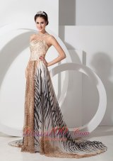 Zebra and Leopard Printing Prom Celebrity Gown with Court Train
