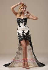 Black and White Lace Prom Celebrity Dress 2014 in High-low Style