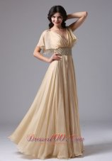 Butterfly Sleeves Beaded V-neck Waistband Prom Gown