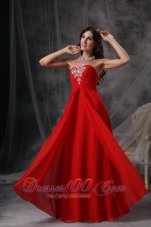 Empire Chiffon Ruched Prom Dress with Beads Sweetheart