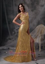 Stunning Gold Sequin Straps V-neck Evening Dress Beaded