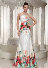 Floral Printing Rhinestones Strapless Prom Celebrity Dress