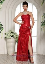 Shining Sequined Red Prom Celebrity Dress with Slit