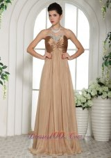 Champagne Evening Celebrity Dress Sweetheart Ruched