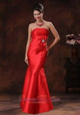 Handmade Red Mermaid Beading Satin Design Prom Dress